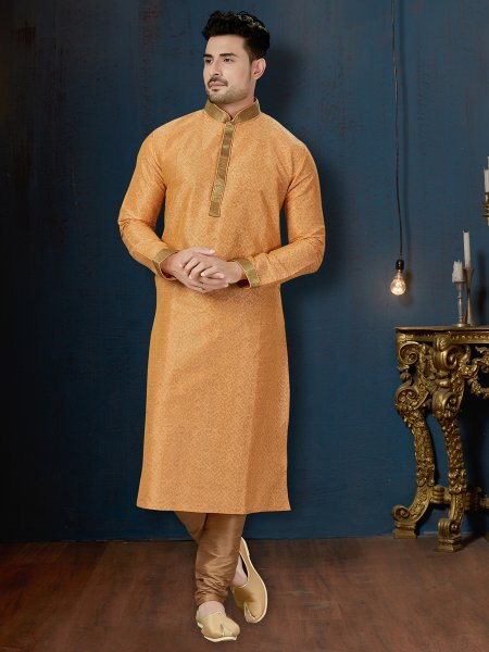 Orange Peel Dupion Silk Festival Printed Kurta