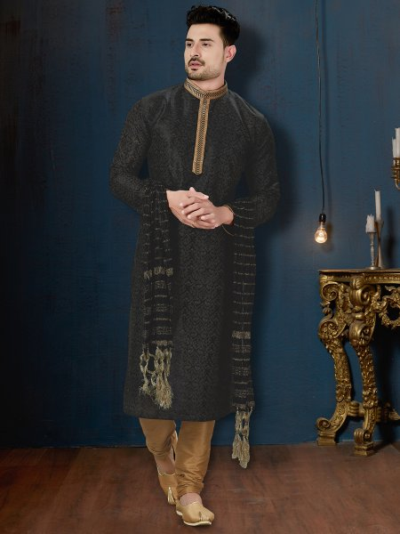 Black Dupion Silk Festival Embroidered Kurta