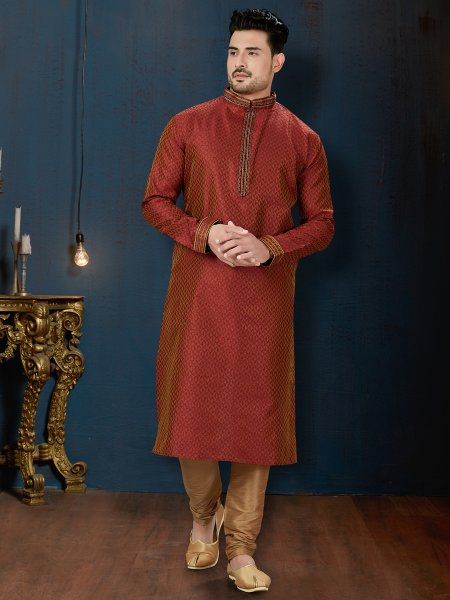 Persimmon Red Jacquard Festival Embroidered Kurta