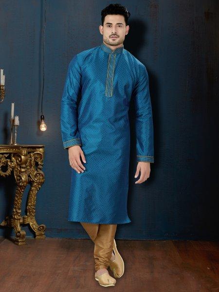 Denim Blue Jacquard Festival Embroidered Kurta
