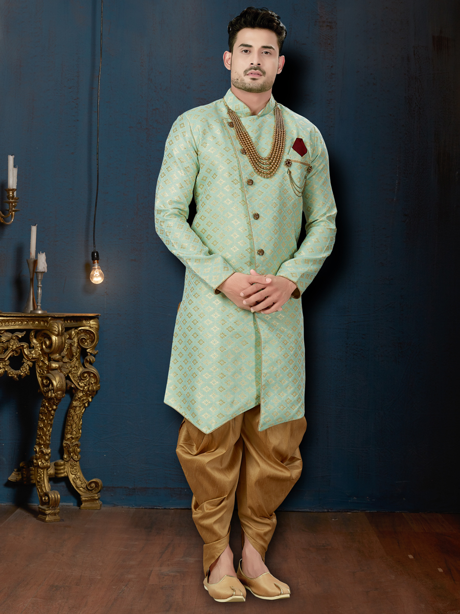 Deep Sky Blue Jacquard Embroidered Wedding Sherwani