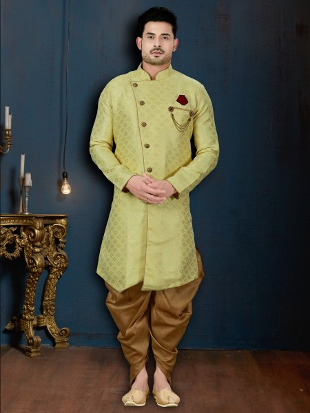Olive Yellow Jacquard Embroidered Wedding Sherwani