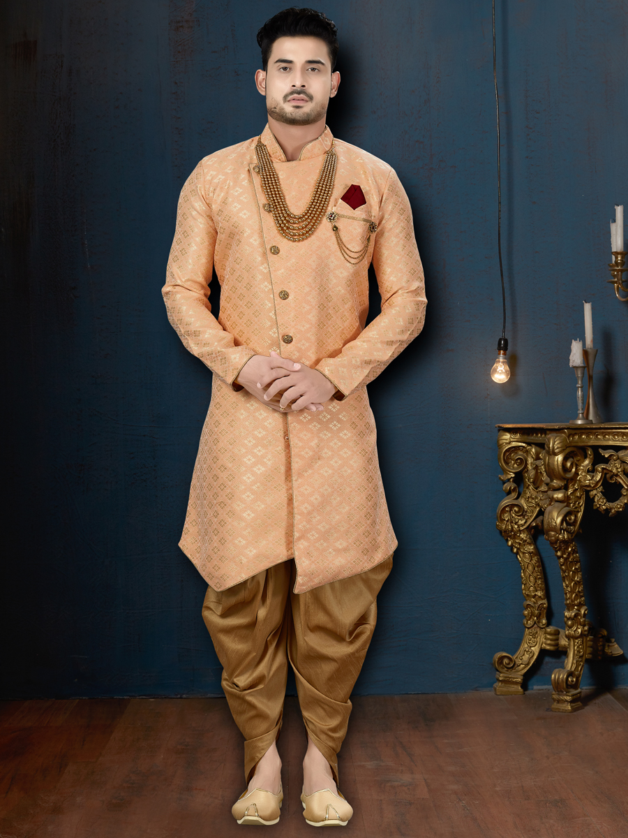 Coral Pink Jacquard Embroidered Wedding Sherwani