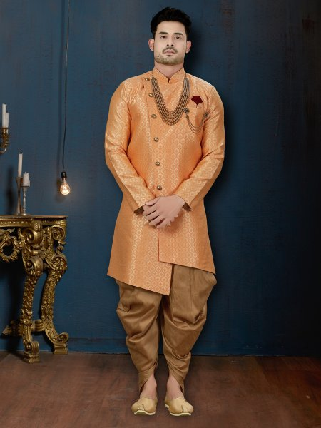 Coral Orange Jacquard Embroidered Wedding Sherwani