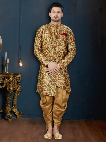 Flax Yellow Jacquard Silk Printed Wedding Sherwani