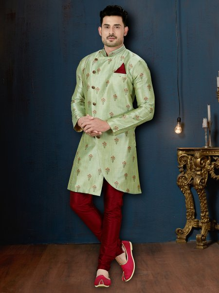 Moss Green Silk Embroidered Wedding Sherwani