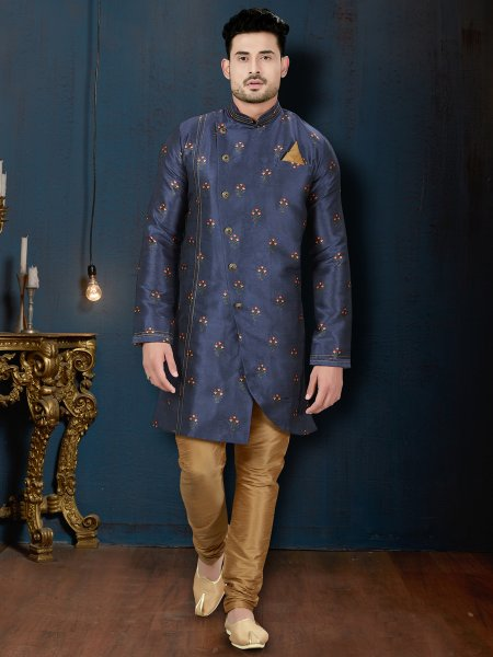 Midnight Blue Silk Embroidered Wedding Sherwani