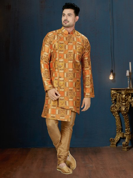Orange Peel Silk Printed Wedding Sherwani