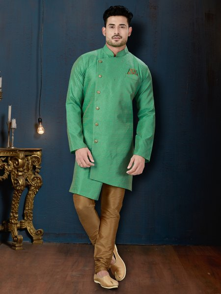 Persian Green Jacquard Embroidered Wedding Sherwani