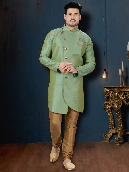 Tea Green Jacquard Embroidered Wedding Sherwani