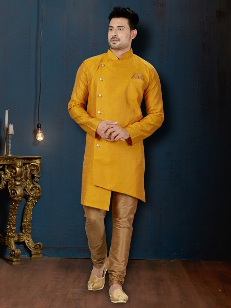 Amber Yellow Jacquard Embroidered Wedding Sherwani
