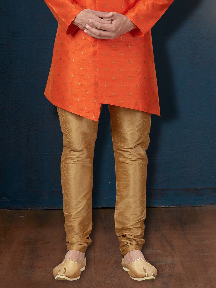 Portland Orange Silk Embroidered Wedding Sherwani