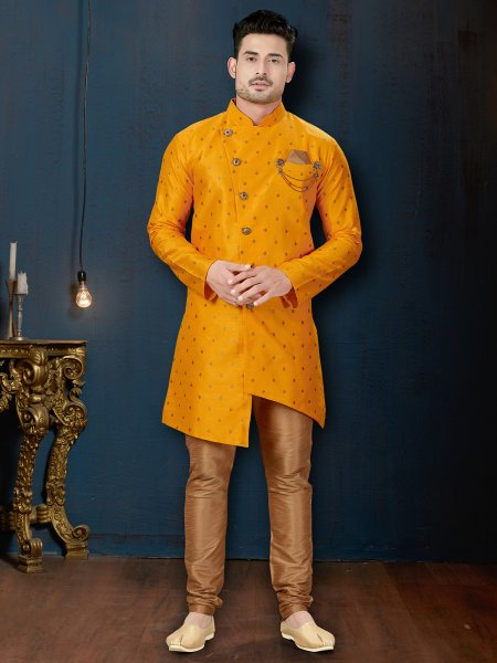 Amber Yellow Silk Embroidered Wedding Sherwani