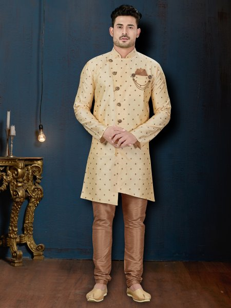 Cream Yellow Silk Embroidered Wedding Sherwani