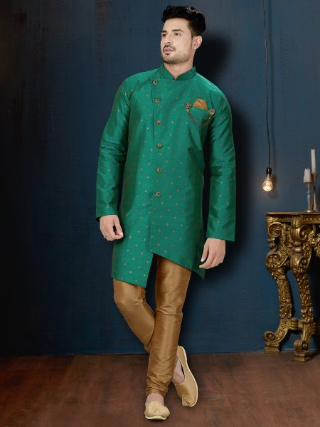 Teal Green Silk Embroidered Wedding Sherwani