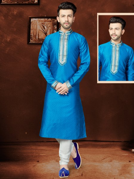 Dodger Blue Matka Silk Festival Embroidered Kurta