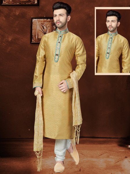 Old Gold Yellow Banglori Silk Festival Embroidered Kurta