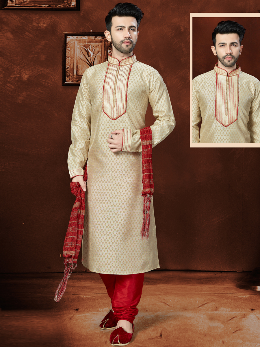 Cream Yellow Banglori Silk Festival Embroidered Kurta