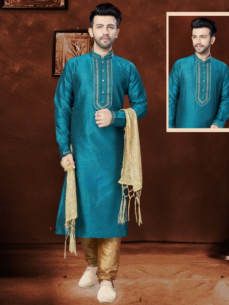 Teal Green Matka Silk Festival Embroidered Kurta