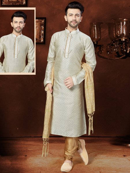 Off White Matka Silk Festival Embroidered Kurta