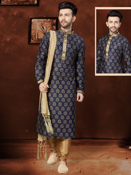 Midnight Blue Banglori Silk Festival Embroidered Kurta