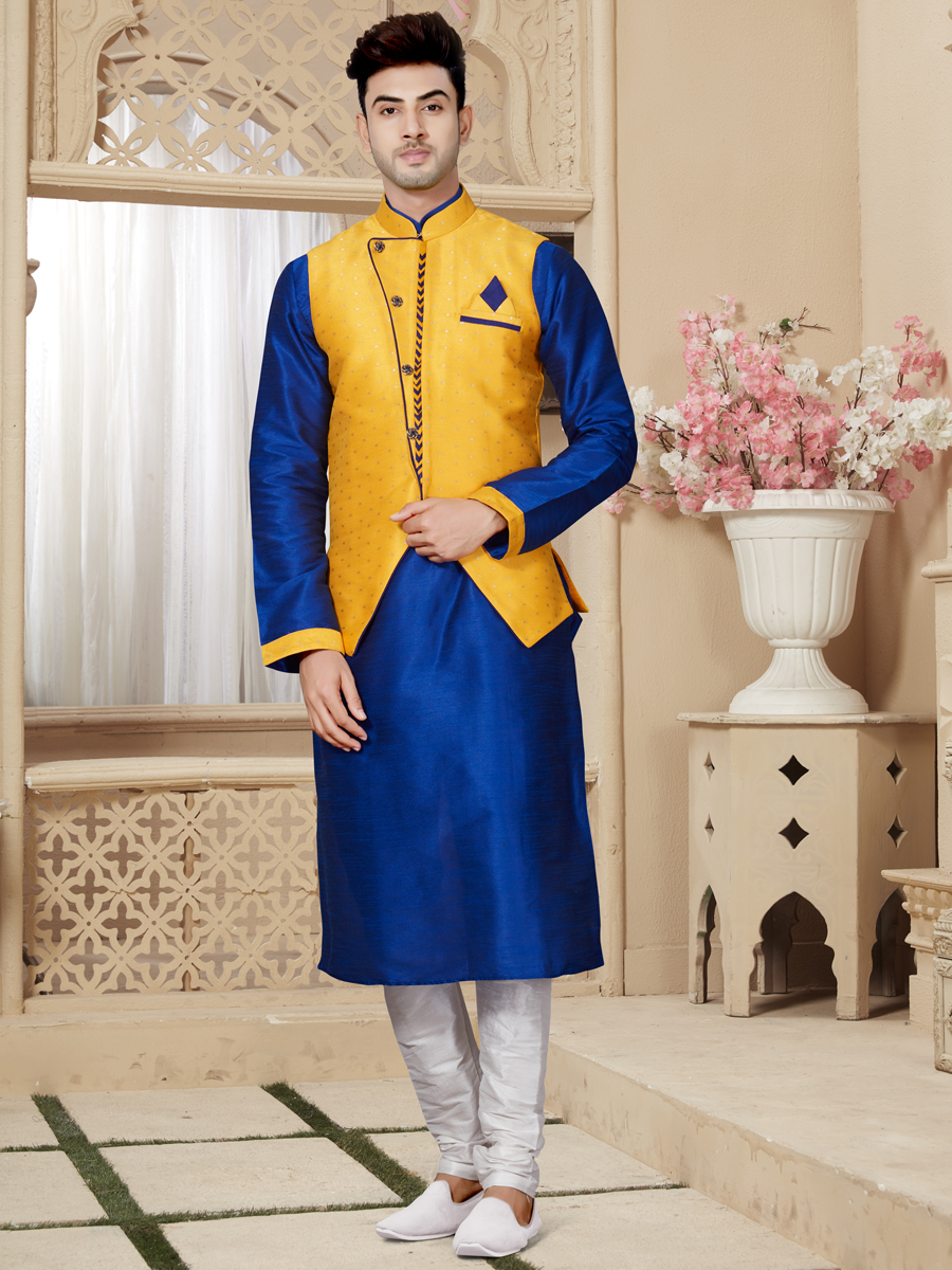 Dark Blue And Maize Yellow Art Dupion Silk Festival Embroidered Kurta With Waistcoat