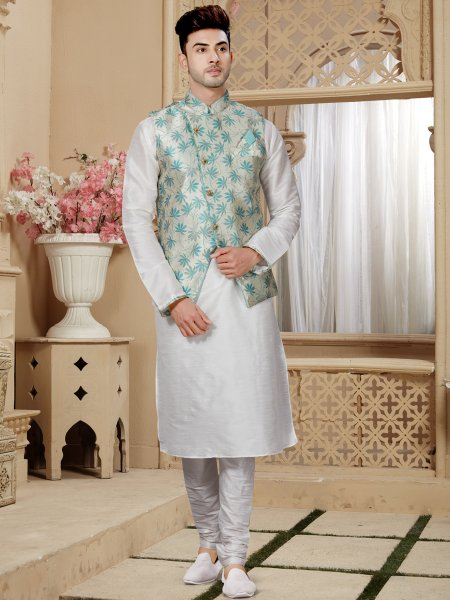 Off White Art Dupion Silk Festival Embroidered Kurta With Waistcoat