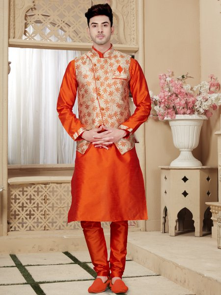 Portland Orange Art Dupion Silk Festival Embroidered Kurta With Waistcoat