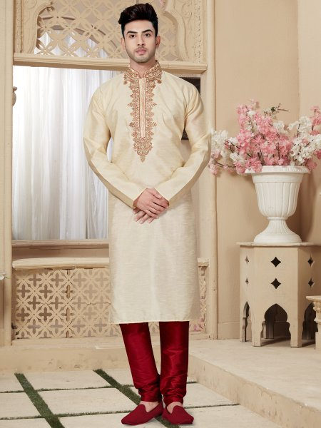 Beige Yellow Art Dupion Silk Festival Embroidered Kurta
