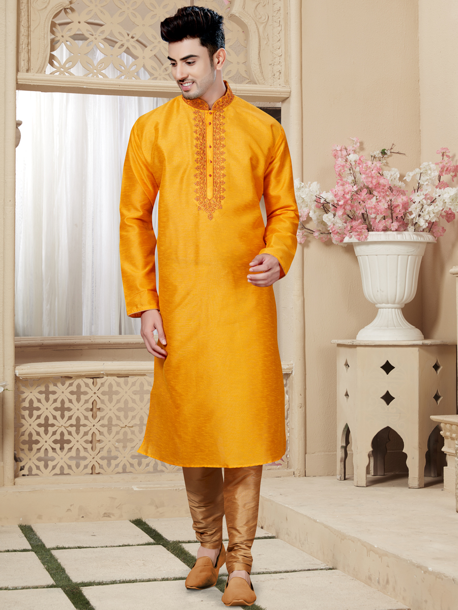 Amber Yellow Art Dupion Silk Festival Embroidered Kurta