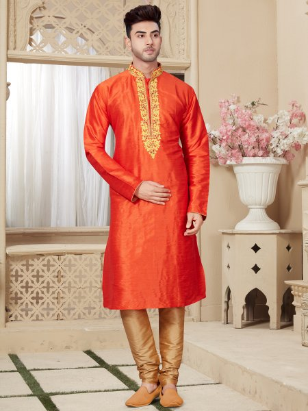 Tomato Orange Art Dupion Silk Festival Embroidered Kurta