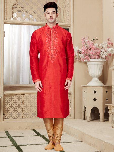 Coral Red Art Dupion Silk Festival Embroidered Kurta