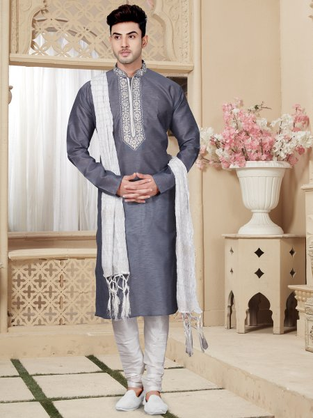 Charcoal Gray Art Dupion Silk Festival Embroidered Kurta