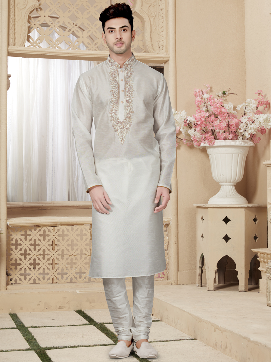 Off White Art Dupion Silk Festival Embroidered Kurta
