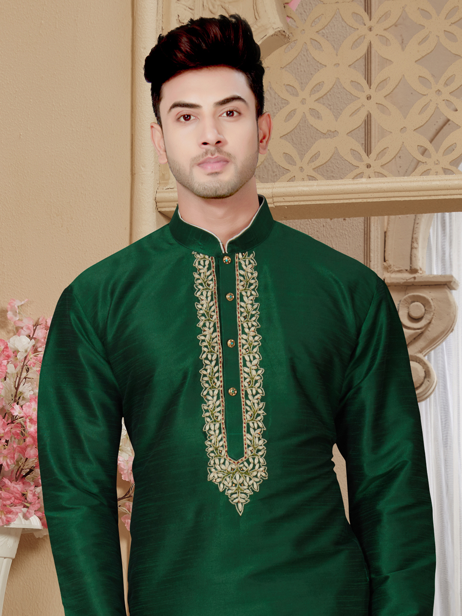 Hunter Green Art Dupion Silk Festival Embroidered Kurta