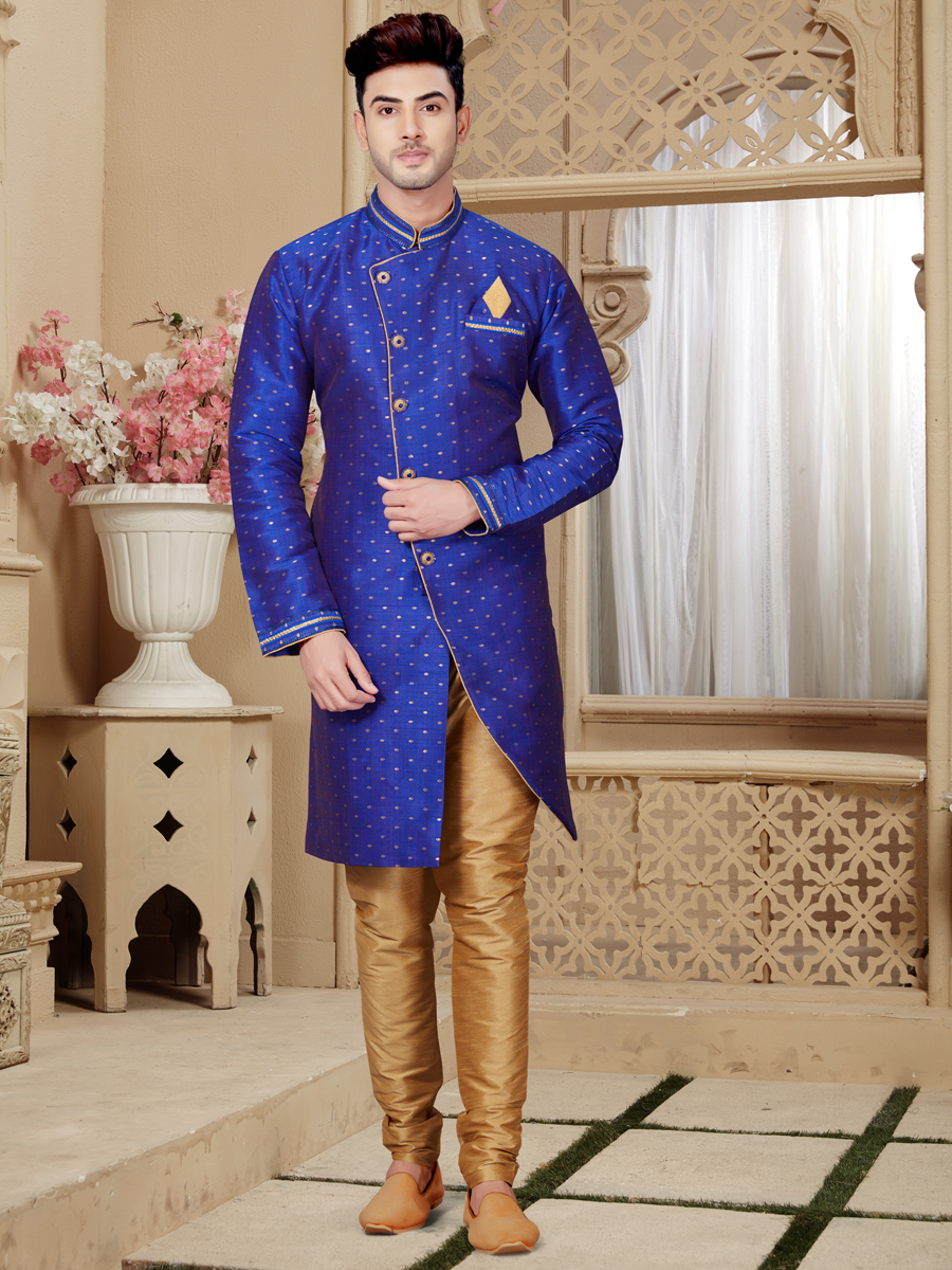 Persian Blue Silk Festival Embroidered Sherwani