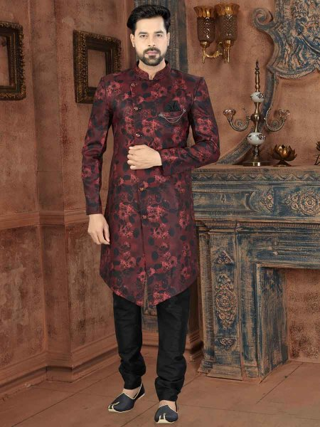 Maroon and Black Jacquard Printed Party Sherwani