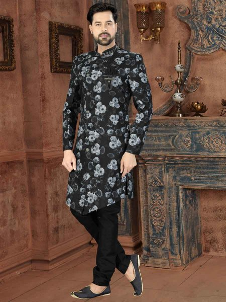 Black and White Jacquard Printed Party Sherwani