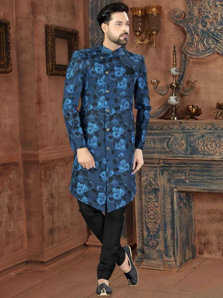 Sky Blue and Black Jacquard Printed Party Sherwani
