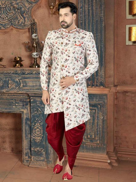 White and Maroon Jacquard Printed Party Sherwani