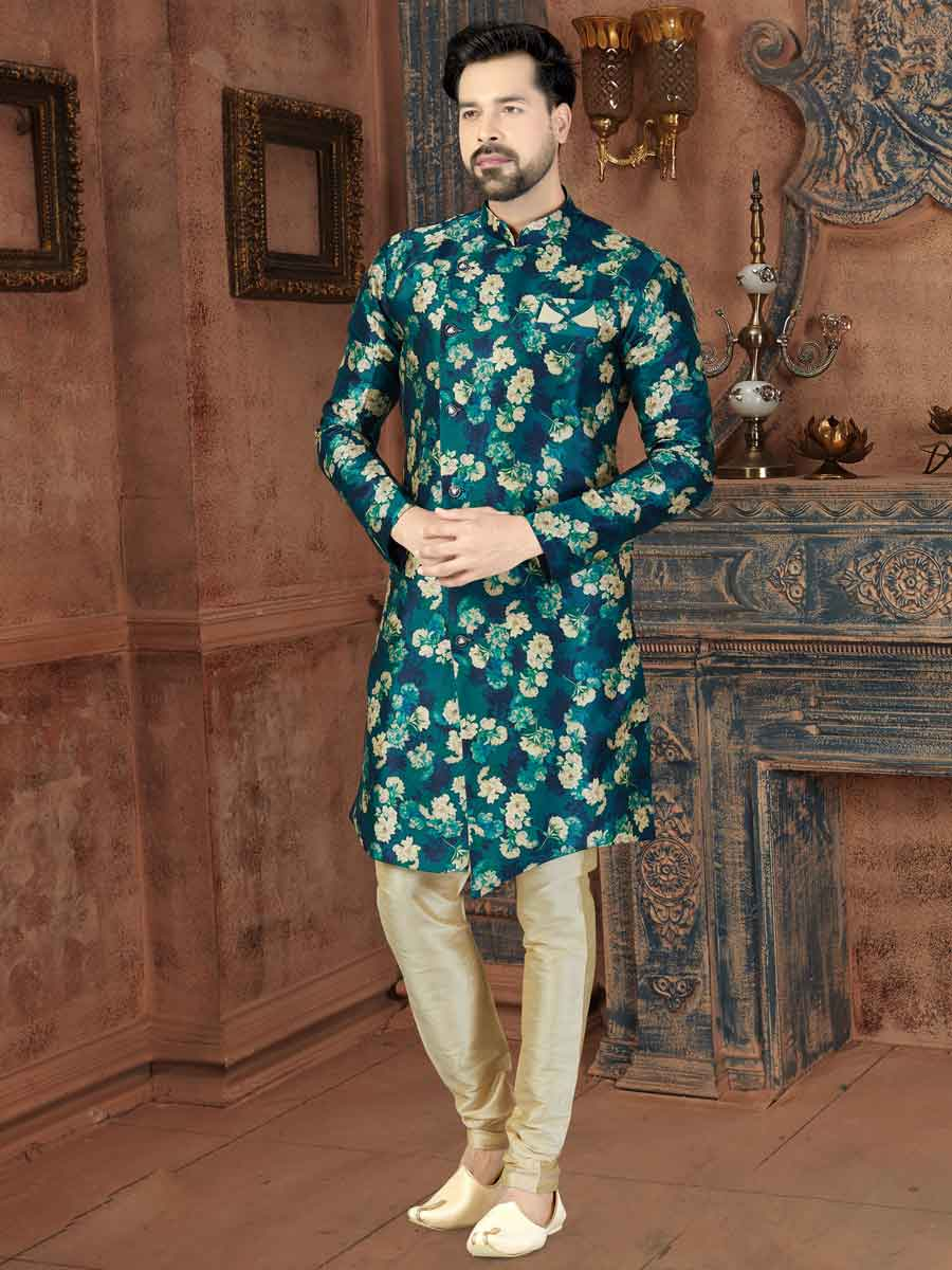 Pine Green Silk Printed Party Sherwani