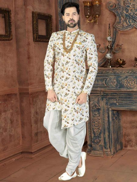 Off-White Jacquard Printed Party Sherwani