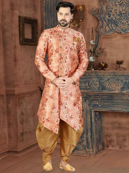 Coral Pink Silk Printed Party Sherwani