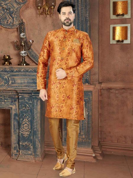 Golden Yellow Silk Printed Party Sherwani