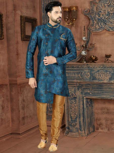 Yale Blue Silk Printed Party Sherwani