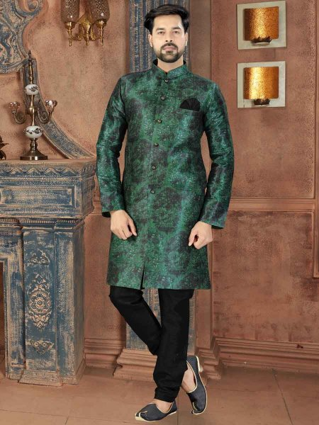 Hunter Green Silk Printed Party Sherwani