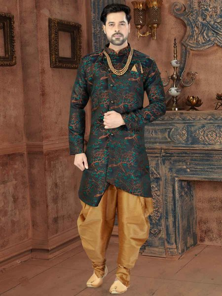 Navy Blue and Turquoise Blue Jacquard Printed Party Sherwani