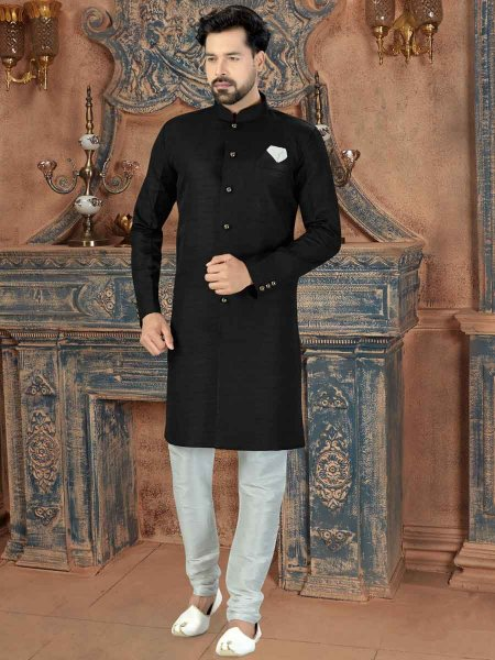 Black Silk Plain Party Sherwani