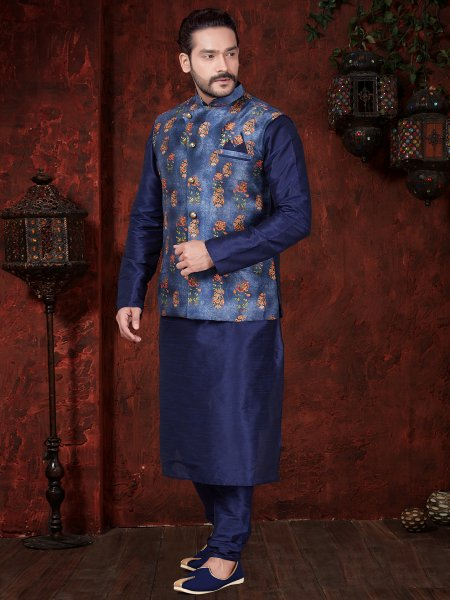 Dark Blue Art Dupion Silk Plain Festival Kurta with Waistcoat