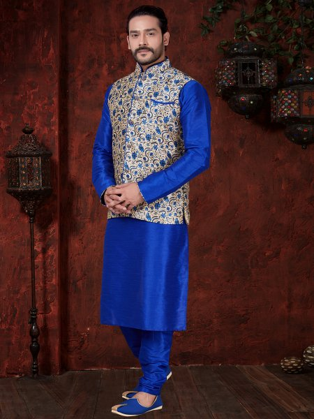 Persian Blue Art Dupion Silk Festival Plain Kurta with Waistcoat